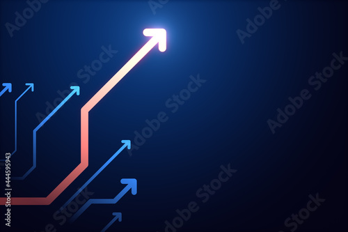 Abstract glowing digital arrows on blue backdrop with mock up place. Digital transformation, growth and data concept. Landing page. 3D Rendering.
