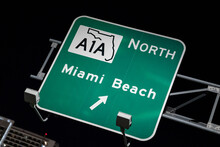 Sign To A1A North To Miami Beach Lit At Night