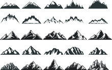 Vintage Mountain And Mount Everest Black Logo Vector