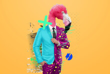 Modern Design, A Human Body In A Bright Business Suit With A Flamingo Head, Confidence. Bright Trendy Colors, Shocking Art, Style For A Magazine, Fashionable Web Design. Copy The Space.