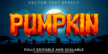 Pumpkin Editable Text Effect, Halloween And Scary Text Style.