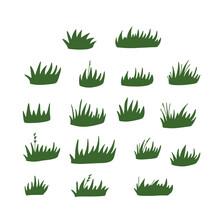 Set Of Green Grass Clumps. Vector Flat Hand Drawn Illustration.