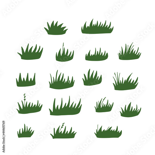 Fotografie, Obraz Set of green grass clumps. Vector flat hand drawn illustration.