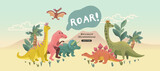 Fototapeta Dinusie - A cute collection of cheerful prehistoric dinosaur characters. Vector illustration.