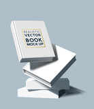 A stack of white blank hardcover books. Marketing and E-book template vector illustration.
