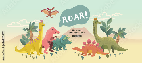 Canvas Print A cute collection of cheerful prehistoric dinosaur characters