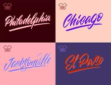 Vintage Handwritten Brush Lettering Of America Cities. Chicago, Philadelphia, El Paso, Jacksonville. Vector Illustration.