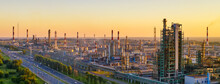 Aerial Drone View Of Petrol Industrial Zone Or Oil Refinery In Yaroslavl, Russia During Sunset Time. Banner Wide Format