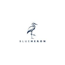 Heron Design Logo Concept. Line Heron Vector. Heron Bird. Color Style.