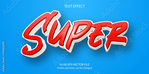 Slika na platnu A livid red tones and energetic editable text effect: Super
