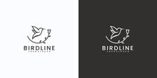 Minimalist Line Art Bird Logo With Leaf Combination