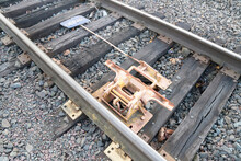 Selective Focus Of A Derailing Device Installed On A Train Rail At Tacoma, Washington