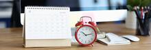 Red Alarm Clock And Calendar For 2021 On Desktop