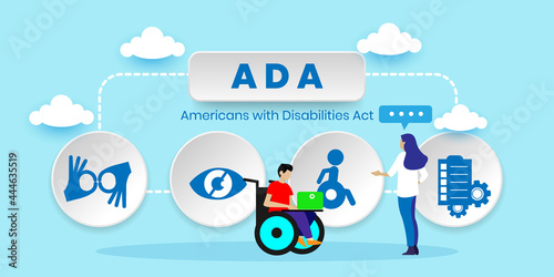Fototapeta ADA americans with disabilities act concept With icons
