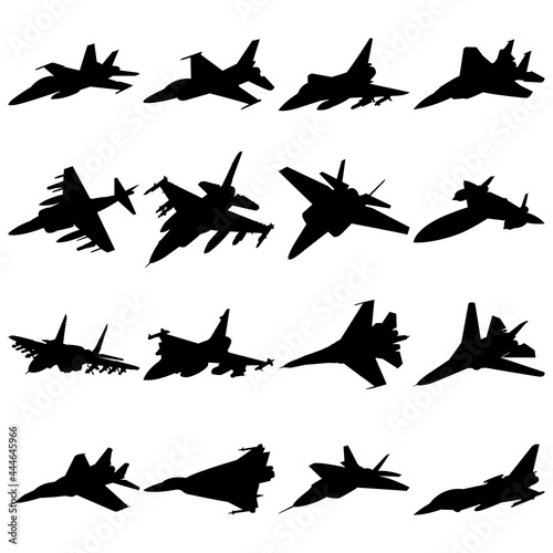 Murais de parede Jet fighter icon front side vew military combat airplane silhouette set