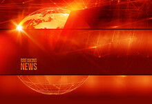 Red Graphical Breaking News Background With Connecting Lines And A Globe