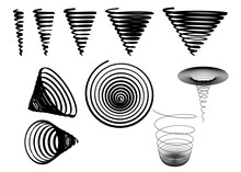 Set With Silhouettes Of Spirals In Different Shapes Isolated On White Background. Vector Illustration