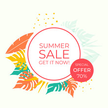 Abstract Background Designs, Summer Sale, Social Media Promotional Content. Vector Illustration Floral Element