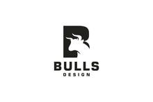 Letter B Logo, Bull Logo,head Bull Logo, Monogram Logo Design Template Element