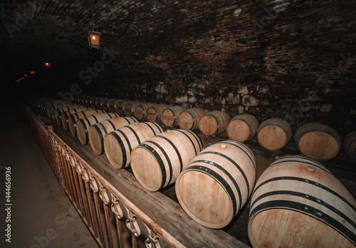 Murais de parede Old lodge with rows of oak wooden casks for slow aging of fortified ruby, tawny or cabernet sauvignon wine