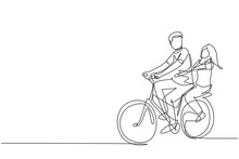 Single Continuous Line Drawing Couple Have Fun Riding On Bike. Romantic Cycling Couple Holding Hands. Togetherness Of Young Husband And Wife. Dynamic One Line Draw Graphic Design Vector Illustration