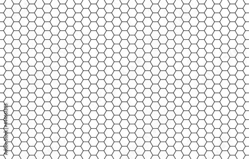 Fotografiet Honey hexagon bee hive honeycomb pattern seamless black and white background vec
