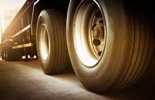 Rear A Big Truck Wheels Of Trailer. Road Freight By Truck Transportation.