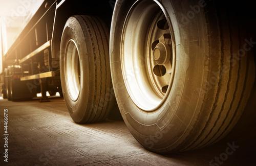Fotografie, Obraz Rear A Big Truck Wheels of Trailer