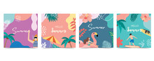 Collection Of Summer Background Set With Palm,coconut Tree,sea,beach.Hello Summer