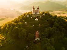 Romantic Morning Scenery Of Calvary In Banska Stiavnica, UNESCO, Slovakia. Old Slovakia Mining Town Of Banska Stiavnica.