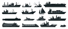 Ships Silhouette. Cargo Ship With Shipping Containers, Tourist Cruise Ship, Commercial Fishing Vessel, Yacht. Water Transportation Vector Set. Liner For Voyage, Fisher Boat, Water Scooter