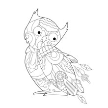 Contour Linear Illustration With Bird For Coloring Book. Cute Owl, Anti Stress Picture. Line Art Design For Adult Or Kids  In Zentangle Style And Coloring Page.