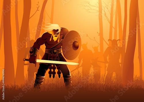 Obraz na plátně Viking warriors lurking in the woods