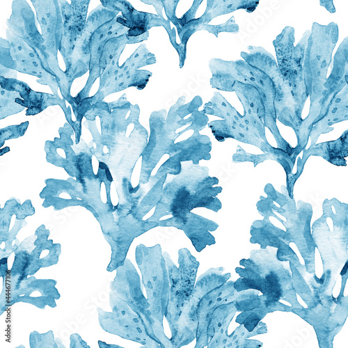 Fotografiet Beautiful seamless underwater pattern with watercolor sea life coral shell and starfish