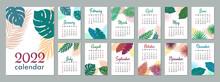 2022 Calendar Template. Calendar Concept Design With Leaves. Week Starts On Sunday. Set Of 12 Months 2022 Pages. Vector Illustration.
