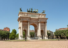 Sempione Park, Arch Of Peace  From The Napoleonic Period;Milan,Lombardy,Italy.
