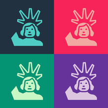 Pop Art Statue Of Liberty Icon Isolated On Color Background. New York, USA. Vector