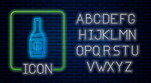 Glowing Neon Beer Bottle Icon Isolated On Brick Wall Background. Neon Light Alphabet. Vector