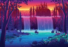 Sunset Waterfall Landscape Illustration