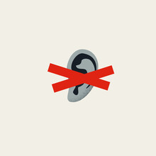 Not Listening And Hearing Symbol, Vector Concept. Falling On Deaf Ear, Ignore And Disregard Others. Minimal Illustration