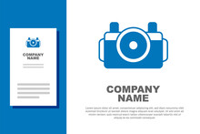 Blue Photo Camera For Diver Icon Isolated On White Background. Foto Camera Icon. Diving Underwater Equipment. Logo Design Template Element. Vector