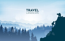 Girl On A Mountain Looks Down At Guy Who Climbs Up. Hiking. Adventure. Travel Concept Of Discovering, Exploring And Observing Nature. Polygonal Minimalist Graphic Flat Design. Vector Illustration.