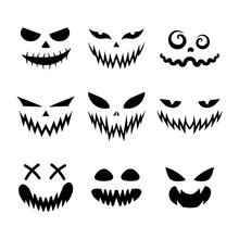 Set Of Scary And Funny Faces For Halloween Pumpkin Or Ghost. Jack-o-lantern Facial Expressions. Simple Collection Horror Faces With Evil Eyes, Teeth And Creepy Smiles. Isolated Vector Illustration.