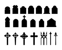Set Of Black Silhouettes Of Headstones, Fences, Crosses. Spooky Horror Design Decoration For Halloween Party. Spooky Background For October Party And Invitations. Flat Vector Stock Illustration.