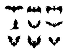 Set Of Black Silhouettes Of Bats. Creepy Decoration Of Horror Design For Halloween Party. Spooky Background For October Night Party And Invitations. Flat Vector Stock Illustration.
