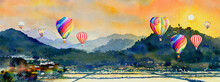 Watercolor Landscape Painting Of Hot Air Balloon, Mountain And Cornfield.