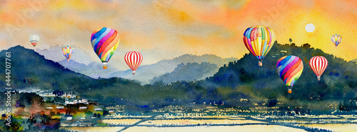Obraz na plátně Watercolor landscape painting of hot air balloon, mountain and cornfield