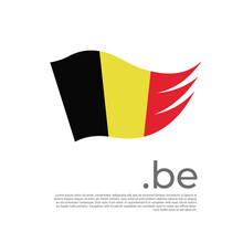Belgium Flag. Vector Stylized Design National Poster On A White Background. Belgian Flag Painted With Abstract Brush Strokes With Be Domain, Place For Text. State Patriotic Banner Of Belgium, Cover
