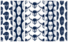 Black Skulls Seamless Vector Background Set, Endless Pattern With Horror Death Sculls, Stylish Wallpaper Of Hard Rock Culture Music Fashion Theme, Gothic Image Collection.