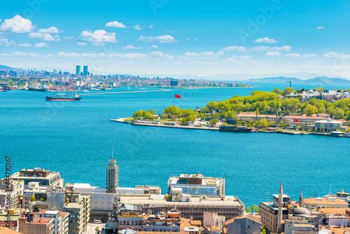 Canvas Panorama of Istanbul city, aerial view to Bosporus